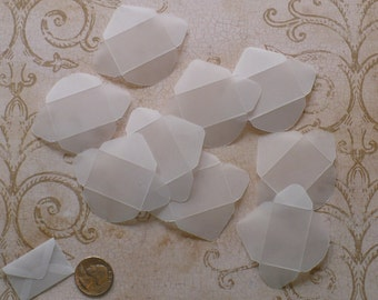 DIY 12 Tiny - Fold Envelopes / Punched Pieces - Made from Clear Vellum Paper