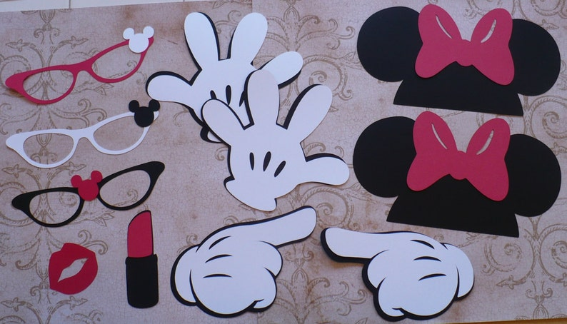 DIY Photo Booth Minnie Mouse Black Ears Gloves Glasses Red Bow image 0