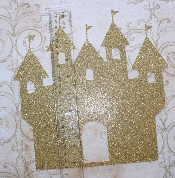 1 Gold Glitter Castle Shape Die Cut Made From Cardstock Princess Birthday Party For Diy Table Wall Decor Centerpiece Projects