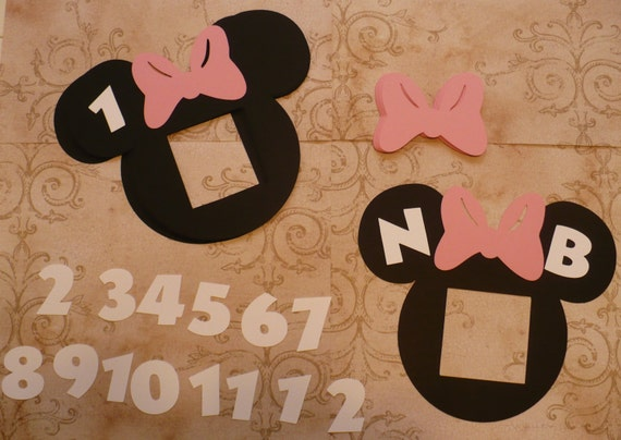 Photo Frame Black Head Shapes Minnie Mouse Pink Bow Die Cuts Etsy