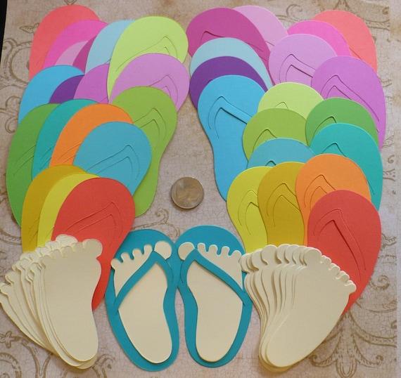 83c5e7f9fb5a Die Cut Bright Flip Flop Feet Craft Birthday Party Shapes made