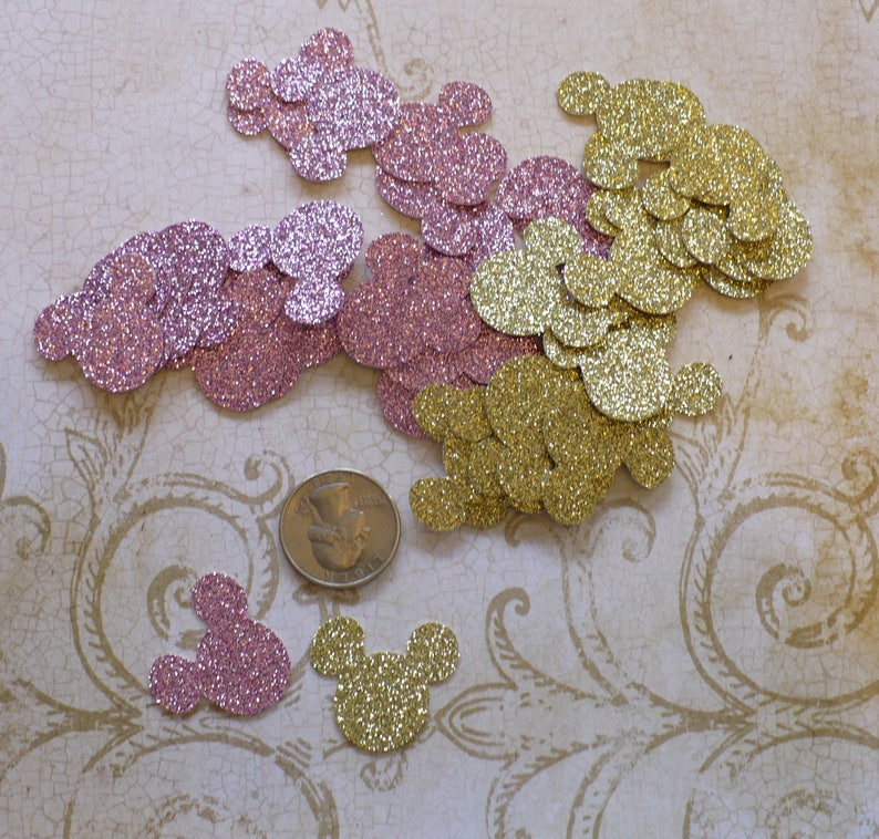 Pink Gold Glitter Minnie Mouse Head 1 Inch Shapes Die Cuts Confetti Garland Diy Kids Crafts Birthday Party