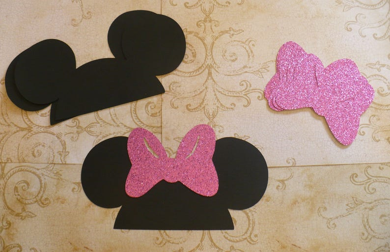 Diy Minnie Mouse Black Ears Cardstock Raspberry Pink Glitter Bows For Crafts Photo Booth Birthday Party Weddings Props Diy