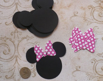 12 Minnie Mouse Head Shapes Hot Pink Polka Dot Bow 3.5 inch Die Cut pieces for crafts Cupcake Picks DIY Kids Crafts Birthday Party etc.