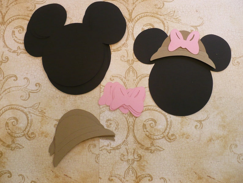 Minnie Mouse Head Shapes With Safari Hats And Bows Die Cut Etsy