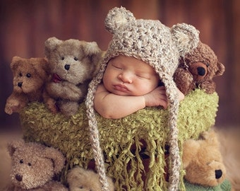 d06c2b4b0e3 READY Baby Hat - Baby Bear Hat - Baby Boy Hat - Baby Girl Hat- 3 Color  Choices Earflaps   Ties with pom pom s