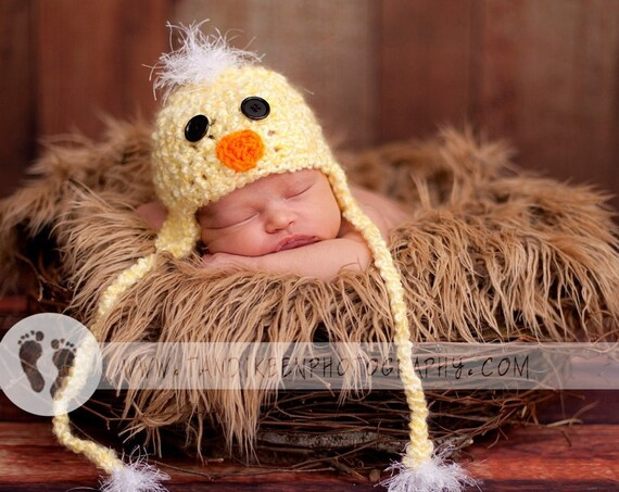 Very Soft Baby Duck Hat Easter Duckie Hat with Earflaps and