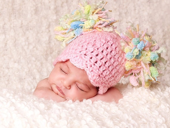 SALE Baby Girl Hat Baby Hat Baby Hat Newborn Baby Pom  cd4a9ea99cfb