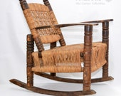 Antique Children 39 s Rocking Chair Wood Wicker Seagrass Armchair Rocker 1930s