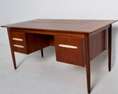 Mid Century Danish Modern Teak Receiving Desk Bookshelf Koford Larsen Era