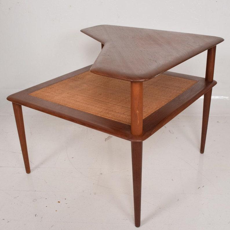 Swell France Sons Peter Hvidt Corner Teak Cane Table Danish Modern Daverkosen Andrewgaddart Wooden Chair Designs For Living Room Andrewgaddartcom