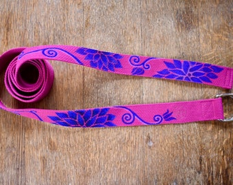 Hot Pink and Blue Lotus Hand painted Yoga Strap