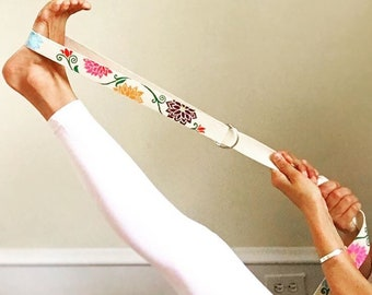 Multicolored Flower Vine Hand Painted Yoga Strap