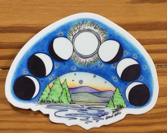 Moon Phase Mountain Vinyl Die Cut Sticker