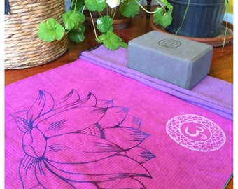 Purple Lotus Flower Yoga Mat Towel with Om symbols and a Heart