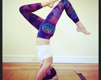 Sri Yantra Sacred Geometry Navy/Purple and Rainbow Leggings