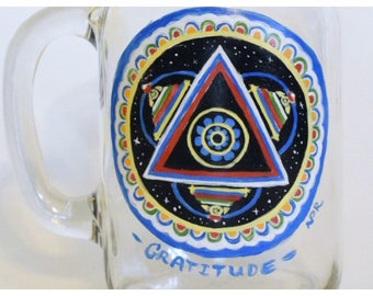 Tibetan Stupa Dharma Wheel Ball Jar Mug