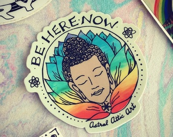 "3"" Be Here Now Buddha Lotus Die Cut Vinyl Sticker"