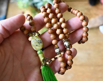 Yellow Turquoise, Citrine, Dalmation Jasper and Sandalwood Mala with Lotus Flower Charm