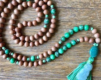 Green Imperial Jasper, Adventurine, and Jade Buddha Charm 108 bead Sandalwood Mala