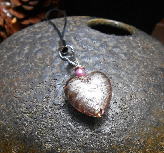 Silver And Gold  Foil Lined Lampwork Bead Heart Phone Charm by Etsy