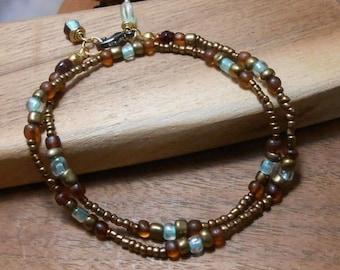 Simple Earthy Beaded Wrap- Fall Jewelry-  -Bracelet- Beaded wrap Bracelet- bohemian bracelet- beaded jewelry- layer bracelet,