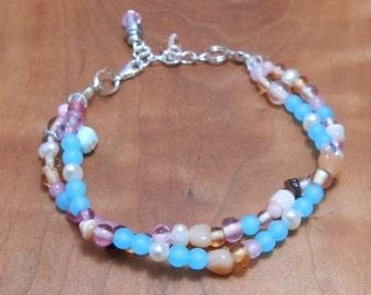 Gemstone Beach Party Bracelet- Sea Glass Jewelry- Pearl Jewelry-Gemstone Bracelet -Beach Resort Style-