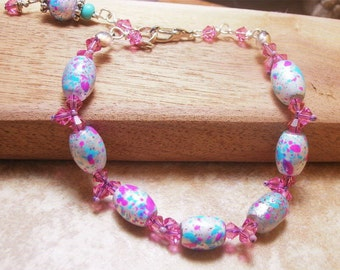 Girl's Blue And Pink Speckled Bracelet-Flower Girl Gift-Pink Jewelry