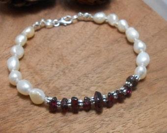 Cherish Garnet & Pearl Bracelet-Pearl Bracelet-Sterling Silver-Valentine's Day-White Pearl - Gemstone Jewelry