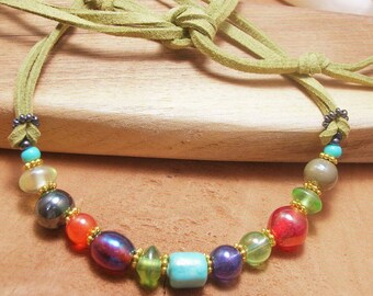 Vintage African Glass Bead and Soft Leather Necklace