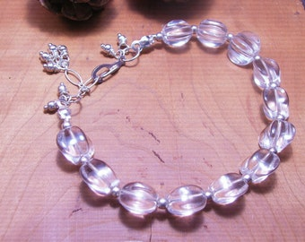 Chunky Clear Quartz Crystal Bracelet-Crystal Jewelry- Colorless Polished Quartz-Quartz Jewelry-Beach Resort Style