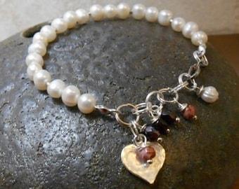 Love Charm Pearl Bracelet-Sterling Silver-White Pearl -Valentine's Day Handmade Pearl Bracelet
