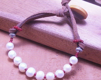 Pearl and Leather Prayer  Bracelet-Boho Chic Jewelry - Stackable