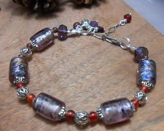 Dusky Mist Purple-Venetian Murano Glass & Silver Bracelet-Venetian Glass Jewelry-Bead Bracelet