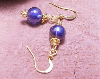 Vintage Midnight Blue Glass Beads Gold Over Silver Earrings