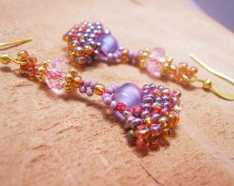 Delicate Bead Woven Fan Earrings