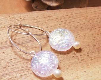 Delicate Beautiful Vintage Czech Bead- Pearl-Hoop Earrings-Bride or Wedding Jewelry-Silver