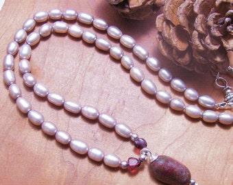 Garnet Necklace-Pearl Jewelry-Gemstone Necklace, Handmade Jewelry,Silver Jewelry