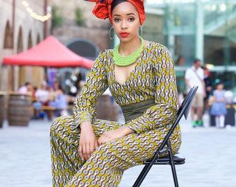 2ea3ac045da Jumpsuit  pantsuit  ankara clothing  African print  women clothing  wide  legged jumpsuit  vneck  puff sleeve - Megan Jumpsuit by GitasPortal