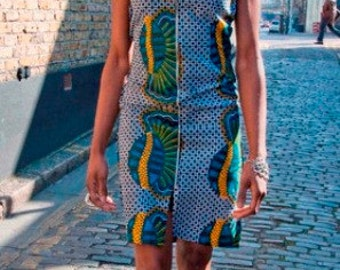 African blue print outline dress with front zip