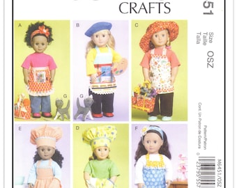 """SALE- McCALL'S Pattern M 6451 - Pants, Top, Aprons, Hats and Cat for 18"""" Doll - Uncut/FF - From 2011"""