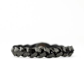Braided Leather Bracelet / Black Mica