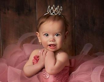 First Birthday Crown Newborn Crown Baby Girl Crown Headband Newborn Princess Crown Baby Tiara Newborn Rhinestone Crown Cake Smash Photo Prop