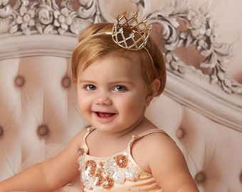 Ready To Ship First Birthday Crown Newborn Crown Baby Girl Crown Headband Flower Girl Crown Baby Tiara Newborn Rhinestone Crown Cake Smash