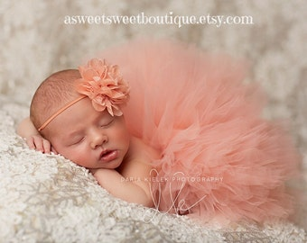 Newborn Peach Tutu Baby Peach Tutu Peach Tutu Newborn Tutu And Headband  Baby Girl Tutu Baby Girl Coming Home Outfit Newborn Photo Prop 7644e3847ad