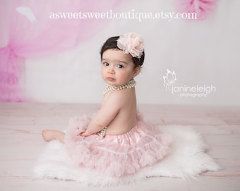 Blush Baby Headband Blush Newborn Headband Blush Pink Chiffon And Lace  Headband Vintage Baby Headband Pink Headbands Newborn Photo Prop 1d20f504191