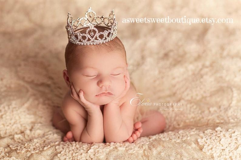 Rhinestone Crown For Baby Newborn Tiara Headband Baby Girl image 0