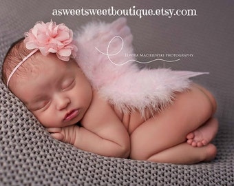 Pink Newborn Angel Wings Pink Baby Angel Wings Sweet Angel Kiss Wings And Headband Set Newborn Photo Prop