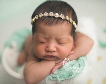 Gold Baby Headband Baby Rhinestone Halo Gold Rhinestone Headband Newborn Rhinestone Tie Back Baby Headband Gold Headbands Newborn Photo Prop
