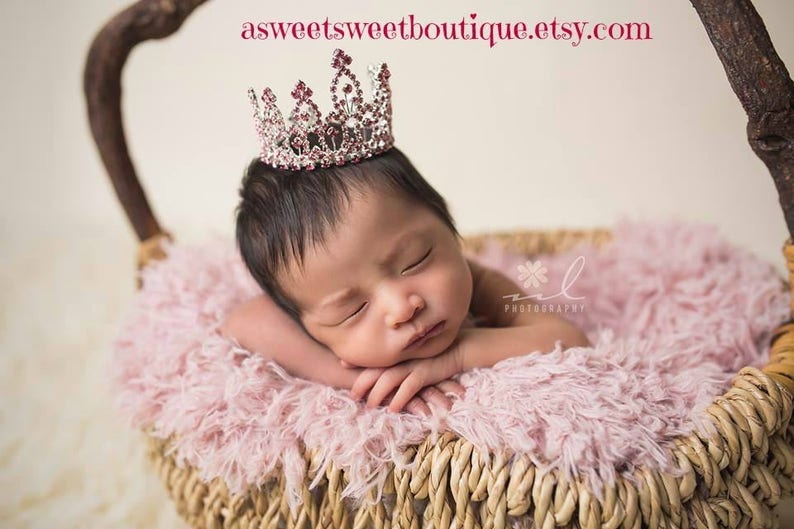 Gold Crystal Crown Gold Baby Girl Crown Newborn Photo Prop Newborn Headband Baby Headband Newborn Crown Baby Tiara Baby Girl Tiara Headband